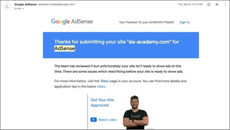 อีเมลจากทีมงาน Google Adsense