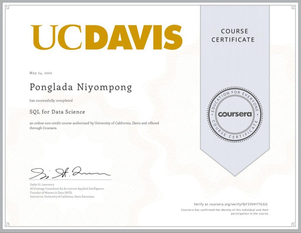 ตัวอย่างใบ certificate บน coursera